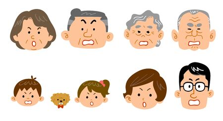 Family expression, angry face