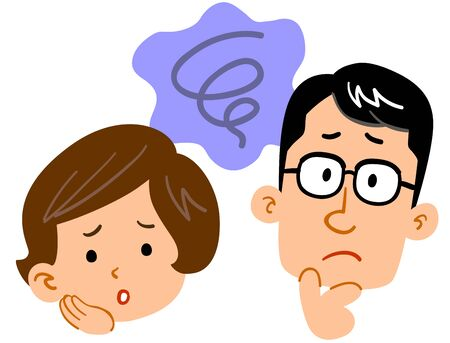 Worried, uneasy expression of young couple