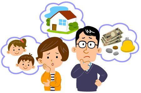 Upper body illustration of couple worried about money, house, children Illustration