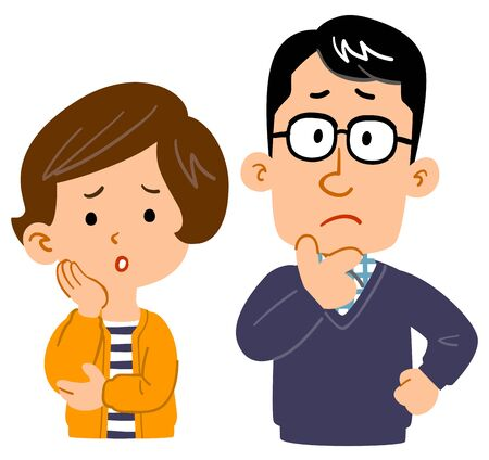 Worried couple upper body illustration  イラスト・ベクター素材