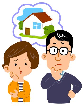 Upper body illustration of a couple worried about the house