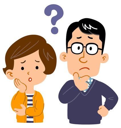Upper body illustration of couple having doubts