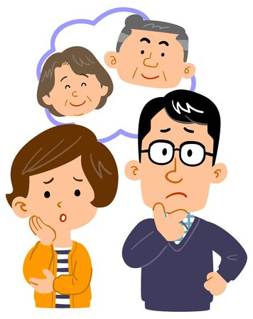 Upper body illustration of a couple worried about parents