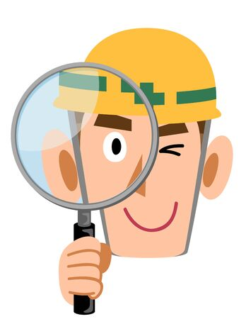 Construction site worker peeking through a magnifying glass, man wearing a helmet