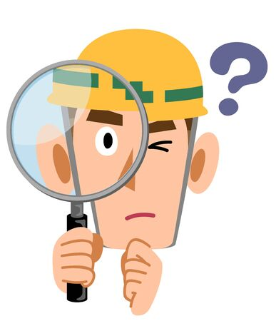 Construction site worker man looking doubtful and looking through magnifying glass
