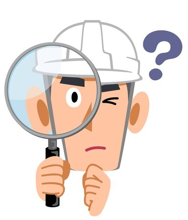 A construction clerk looking into a magnifying glass with doubts, a man wearing a helmet