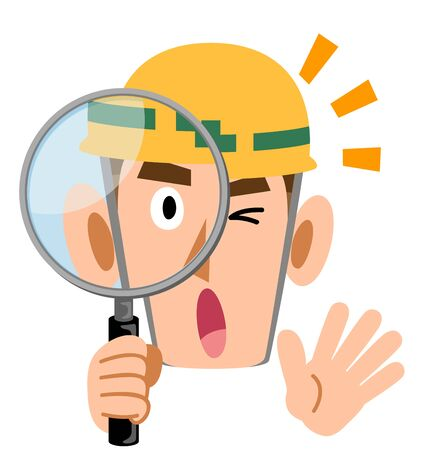 Man wearing helmet at construction site, surprised by looking through magnifying glass Иллюстрация