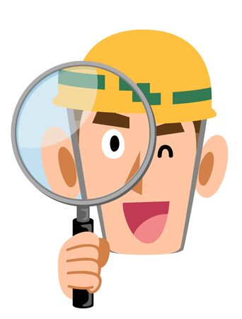 A man wearing a helmet, construction site, looking through a magnifying glass and smiling Иллюстрация