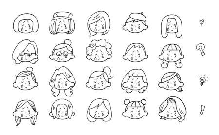 20 kinds of young womens crying face, black outline Ilustração