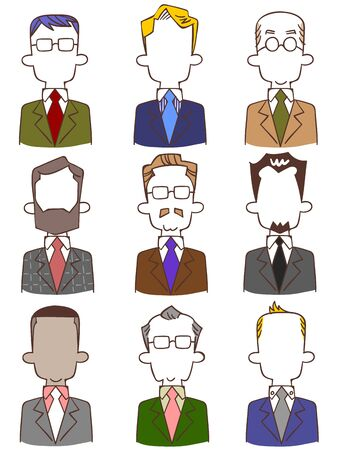 Various upper body of anonymous men in suits Ilustrace