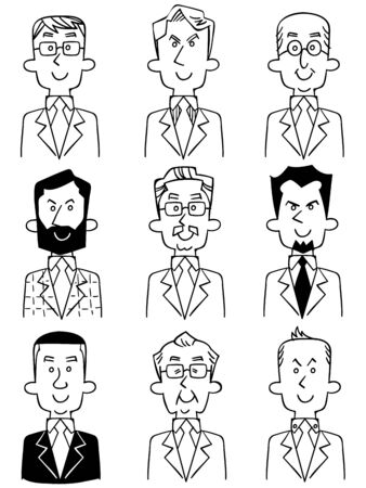 Various upper body line drawings of men in suits Ilustrace