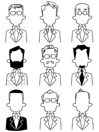 Line drawings of various upper body of anonymous men in suits