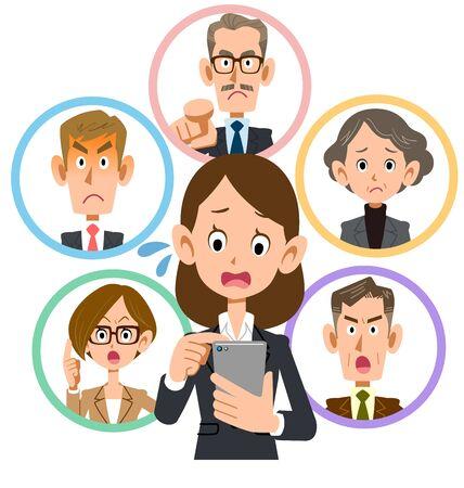 Business woman who fails to communicate on smartphone Illusztráció