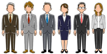 A set of 6 anonymous business persons with no poses for men and women Ilustrace