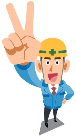 Construction site worker wearing blue work clothes showing peace sign