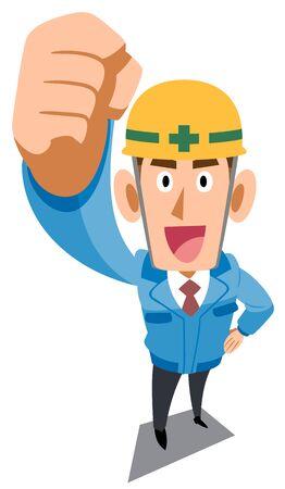 Ouvrier de chantier en vêtements de travail bleus levant les poings Vecteurs