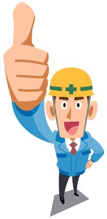 Construction site worker thumbs up Ilustracja