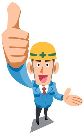 Construction site worker wearing blue work clothes to thumb up and introduce something Vectores