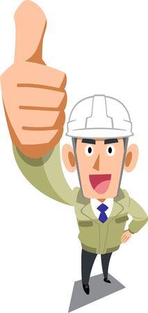 Un hombre en un taller de construcción con un casco para pulgar hacia arriba