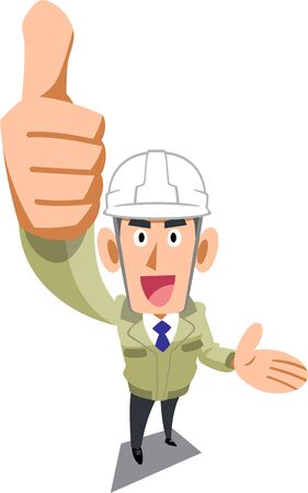 A man in a construction shop wearing a helmet to thumb up and introduce