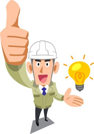 A man in a construction shop wearing a helmet who thumbs up and introduces ideas Ilustracja