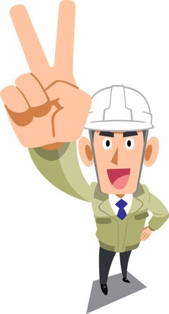 Male construction worker wearing helmet showing peace sign
