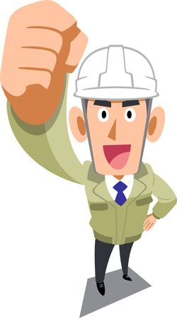 A man in a construction store wearing a helmet holding a fist