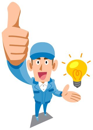 A man in blue work clothes thumbs up for an idea Иллюстрация