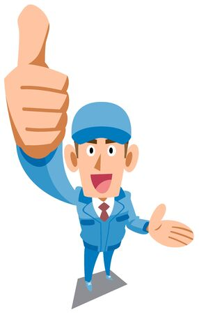 Men in blue work clothes showing thumbs up and introducing something