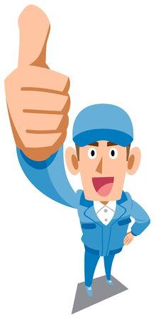 A man in blue work clothes to thumb up