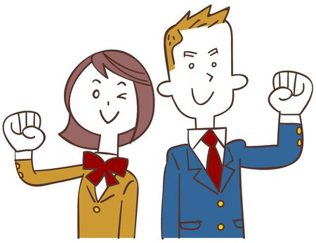 A blue blazer male student and a beige blazer female student Ilustração