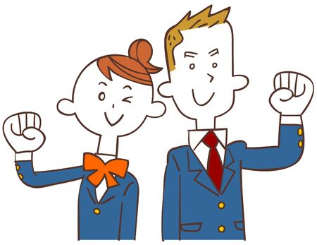 Male student and female student in blue blazer posing guts