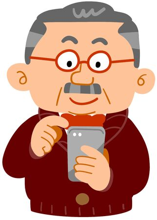 The senior man who operates a smartphone