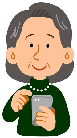 The senior woman who operates a smartphone