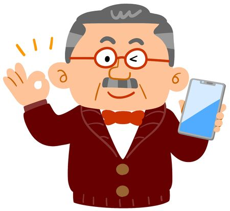 Senior man showing OK hand sign with smartphone