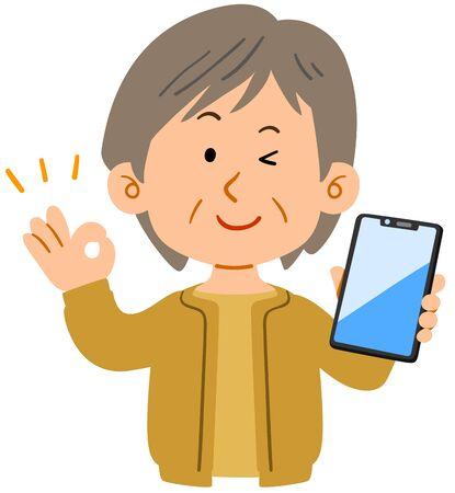 Senior woman showing OK hand sign with smartphone Иллюстрация