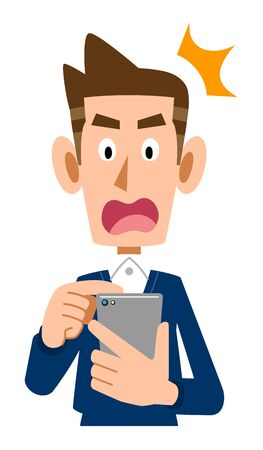 Surprised face man operating mobile phone  イラスト・ベクター素材