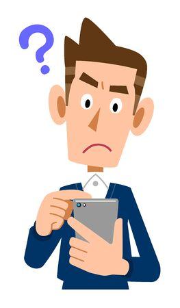 Homme de l'expression de la question pour faire fonctionner un téléphone portable