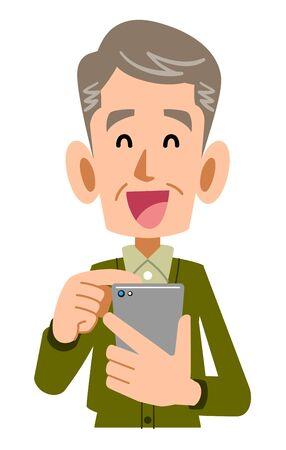 Smiling senior man operating mobile phone