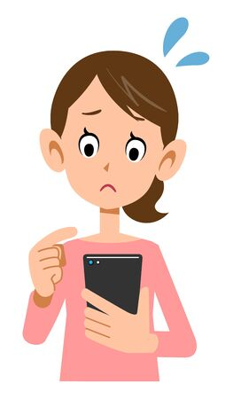 Facial expression of a woman who operates a smartphone