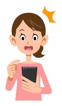 Surprised expression of a woman who operates a smartphone