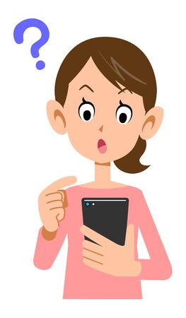 Woman wondering how to operate a smartphone