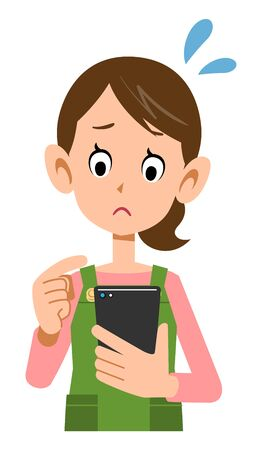 Troubled face of a woman wearing an apron to operate a smartphone