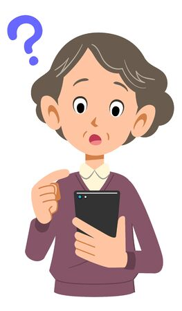 Senior woman wondering to operate mobile phone Çizim
