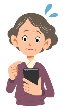 Impaziente di una donna anziana che opera con il cellulare Vettoriali
