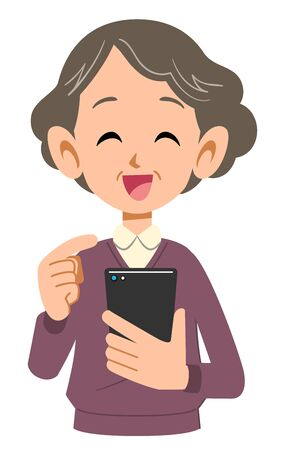 Smiling senior woman operating mobile phone 일러스트
