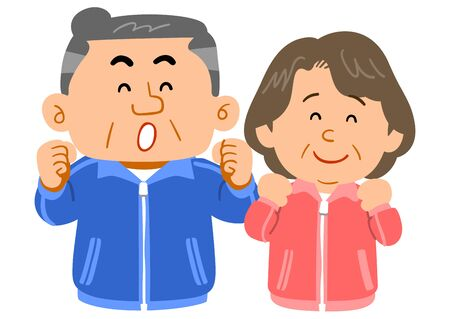 Cheerful senior couple wearing sportswear Ilustração