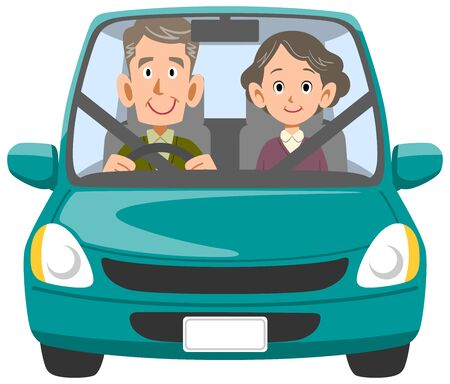 Elderly couple going out by car