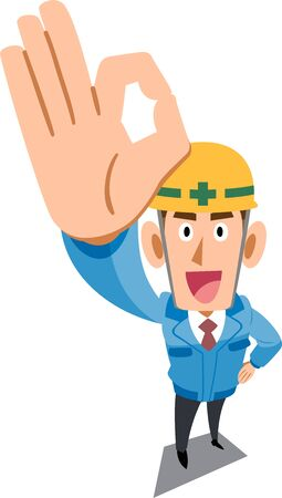 Construction site worker wearing blue work clothes showing OK sign by hand