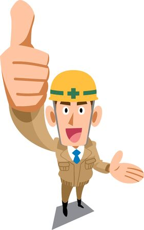 A construction site worker wearing a beige work clothes that thumbs up and introduces something
